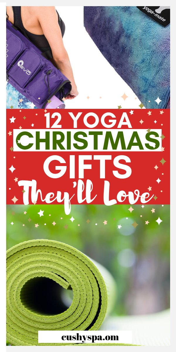 Here are 12 yoga Christmas gifts for you to give to your beloved ones. These are great Christmas gifts for wellness and health and for yogis. #christmasgifts #christmas #yoga