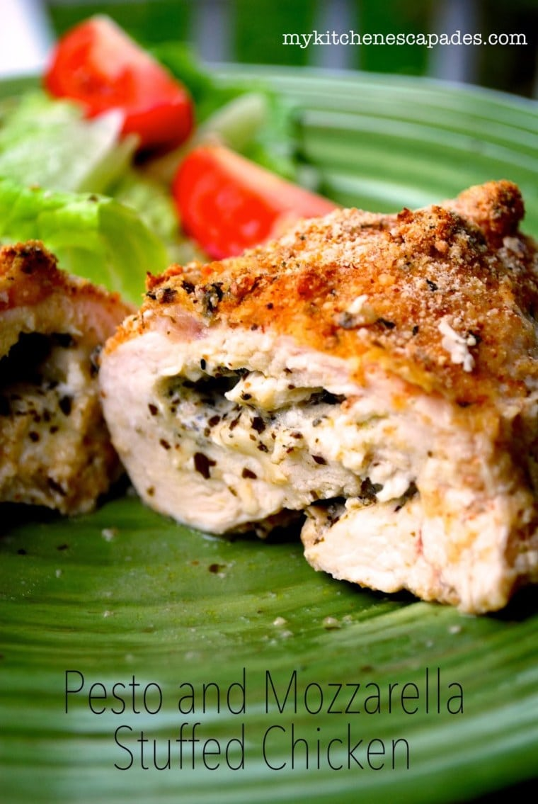 Pesto and Mozzarella Stuffed Chicken Breasts