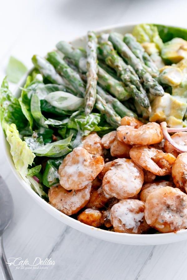 Blackened Shrimp Asparagus and Avocado Salad