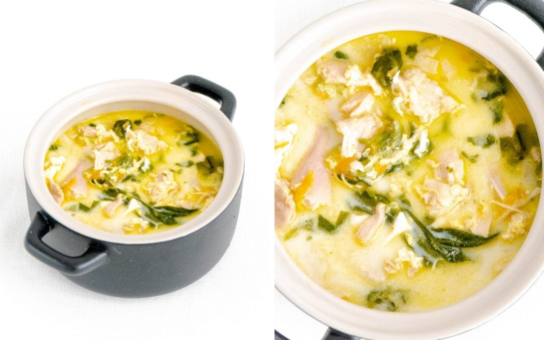 Creamy Chicken Egg Drop Soup With Spinach
