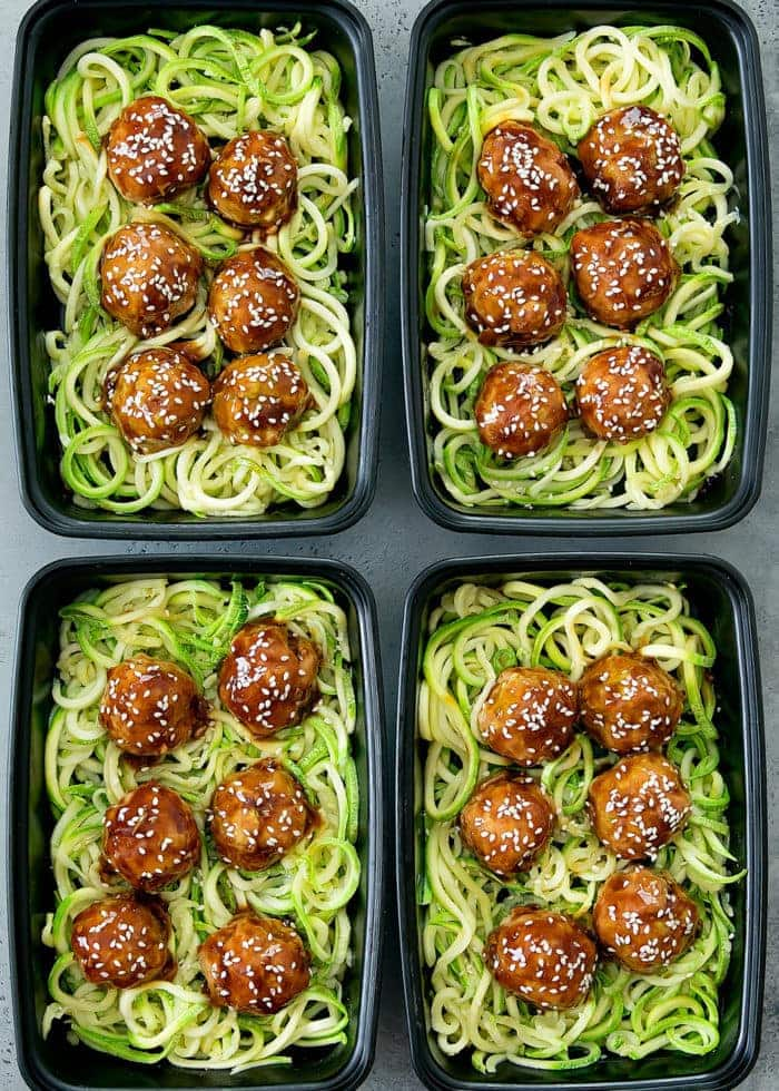 Asian Glazed Meatballs with Zucchini Noodles