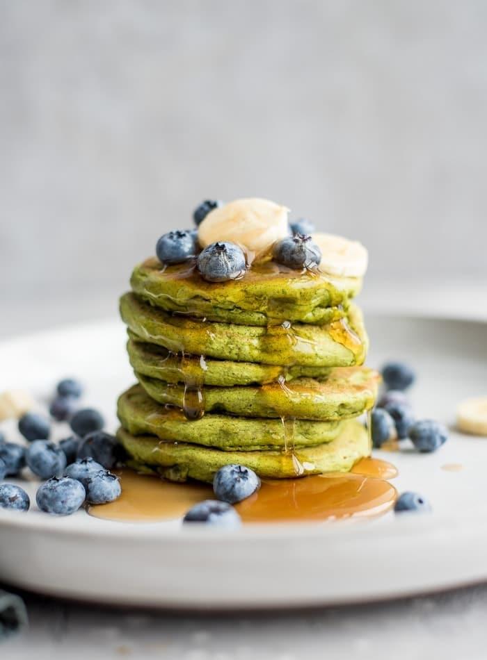Green Vegan Gluten-Free Protein Pancakes