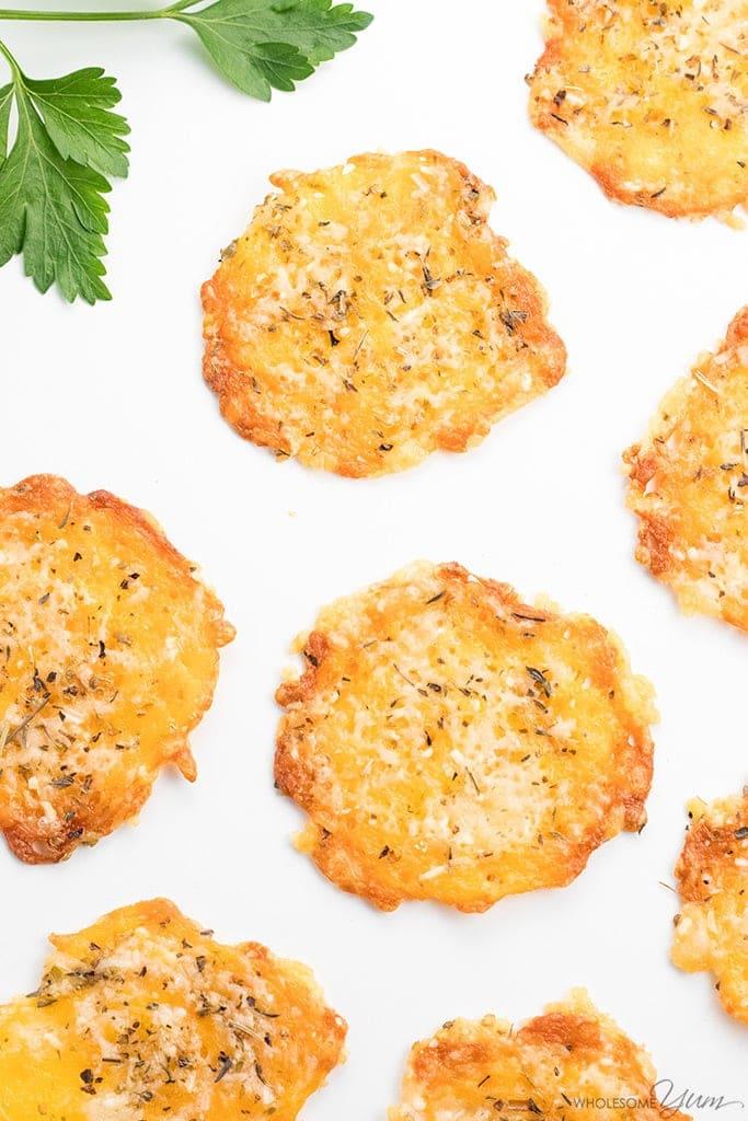 Baked Cheddar Parmesan Crisps