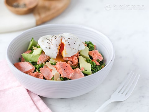 salmon kale and poached egg bowl