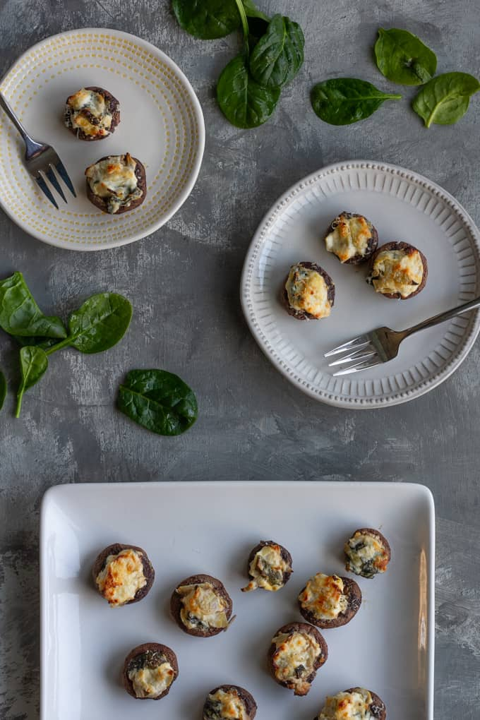 Spinach Stuffed Mushrooms with Artichokes