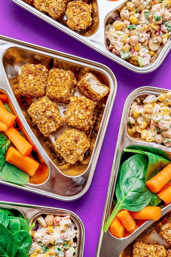 Tofu Nugget Chickpea Salad Meal Prep