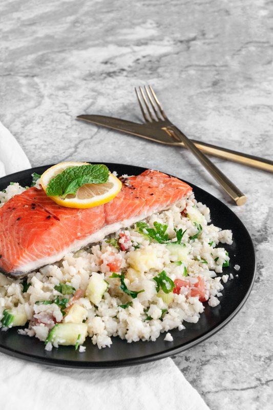 Cauliflower Tabouli & Salmon Meal Prep
