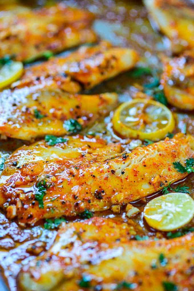 Spicy Lemon Garlic Bake Tilapia