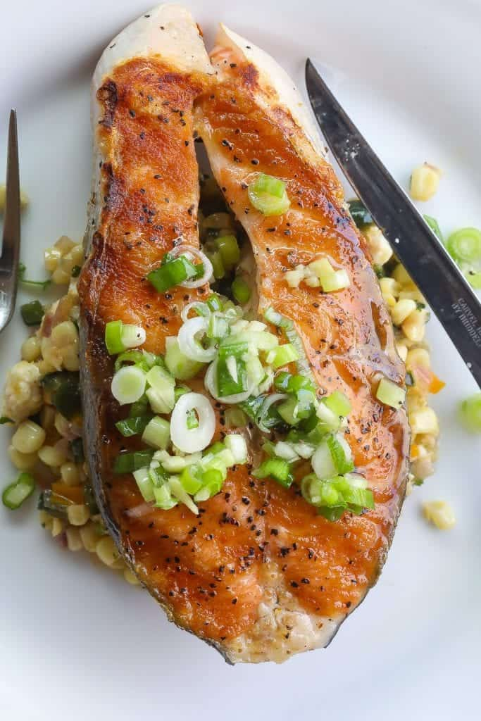 Salmon Steak With Green Onion Vinaigrette