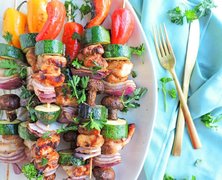 Grilled Balsamic Chicken and Veggie Kabobs