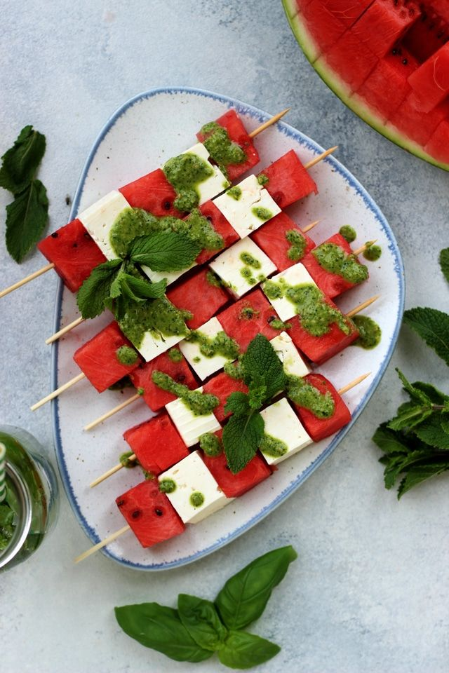 Watermelon Skewers With Feta