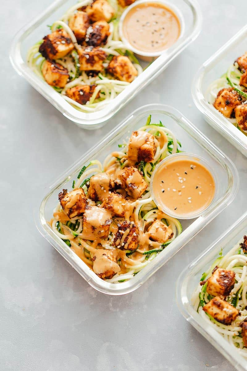 Sesame Tofu With Zucchini Noodles
