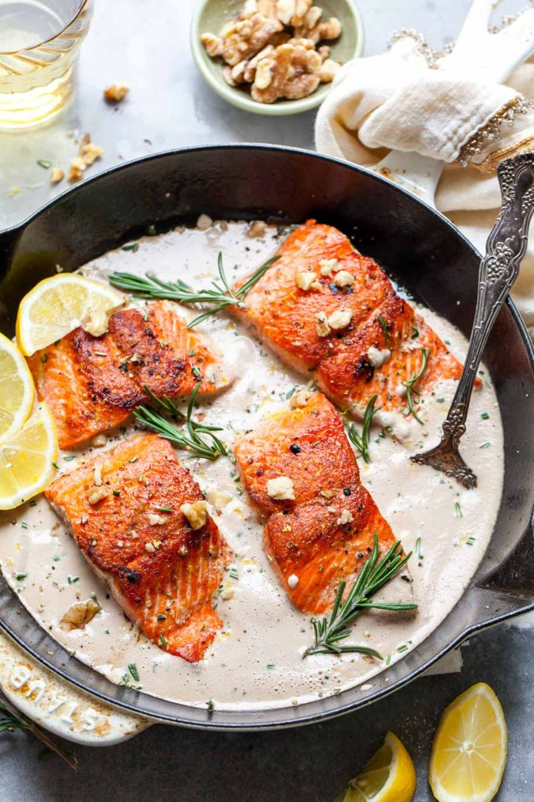 Salmon With Rosemary Walnut Sauce
