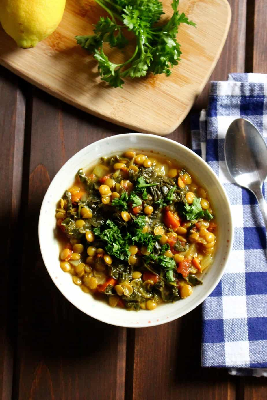 Lemony Lentil Stew With Kale
