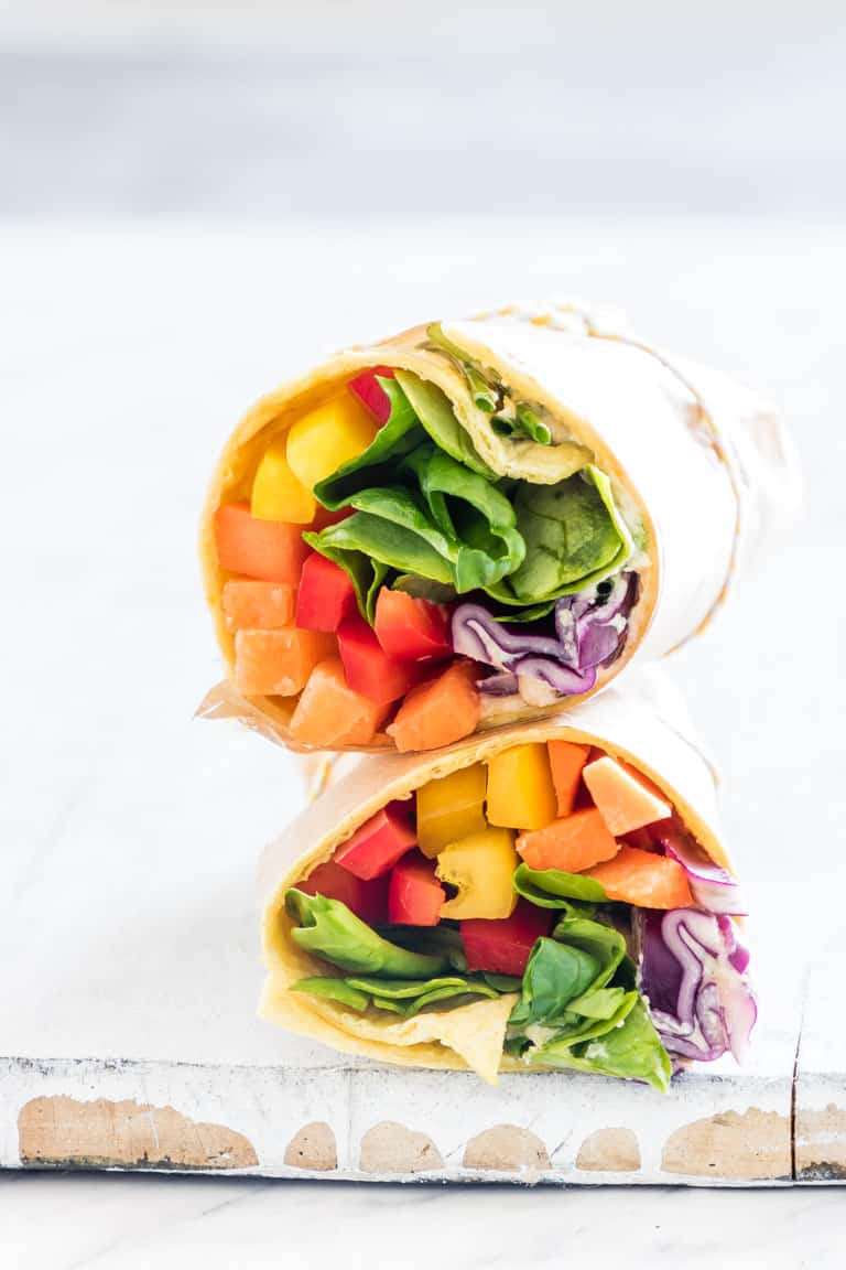 Rainbow Hummus Veggie Wrap