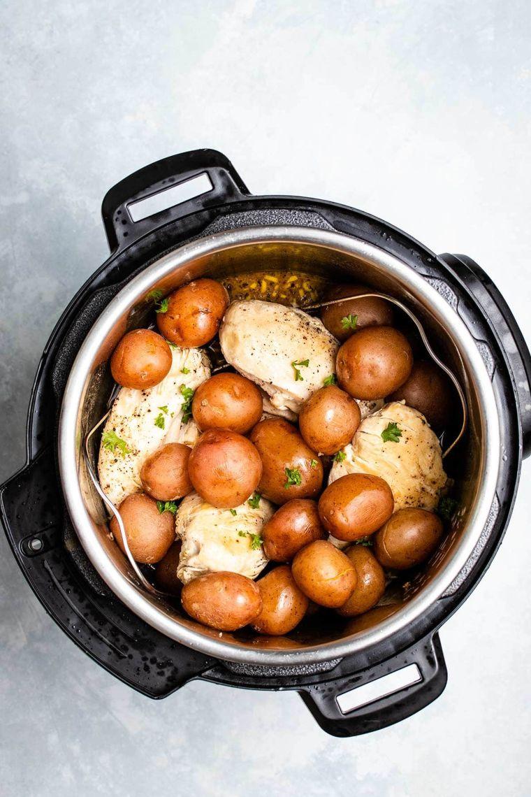 Lemon Garlic Instant Pot Chicken & Potatoes