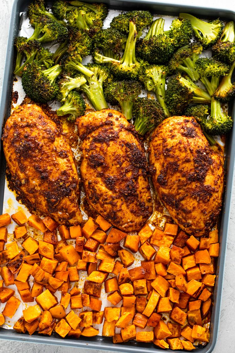 Roasted Chicken, Sweet Potatoes & Broccoli Meal Prep