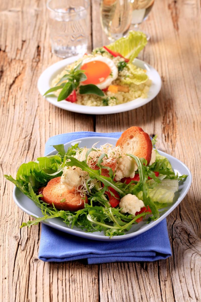 two platefuls of salad