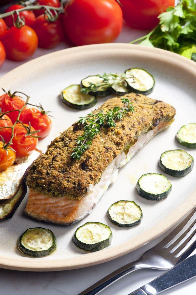 dish with salmon and zucchini