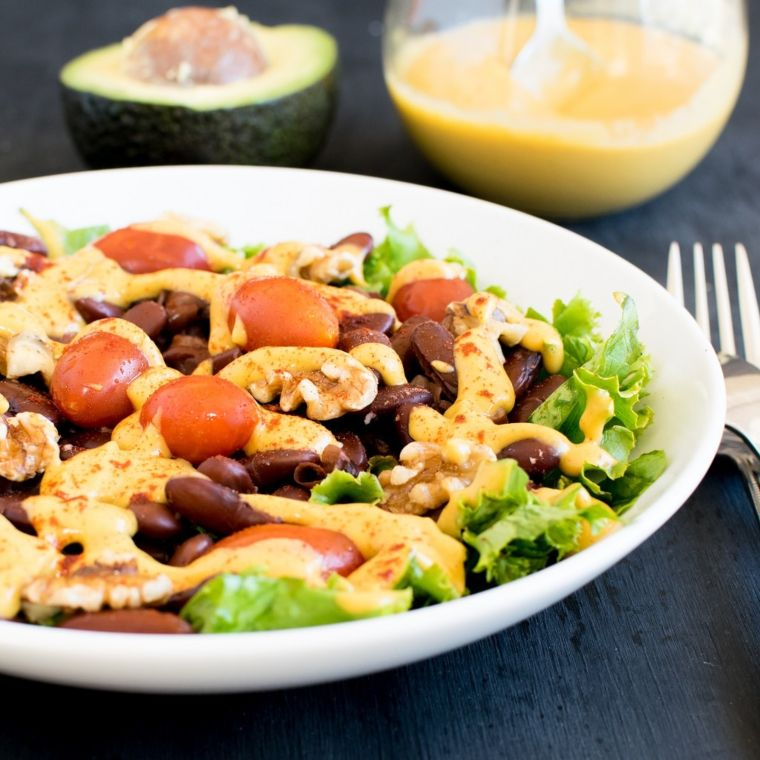 Kidney Beans Salad with Cheese Avocado Dressing
