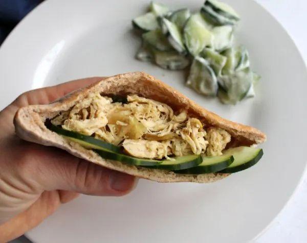 Slow Cooker Greek Chicken Pita Sandwiches