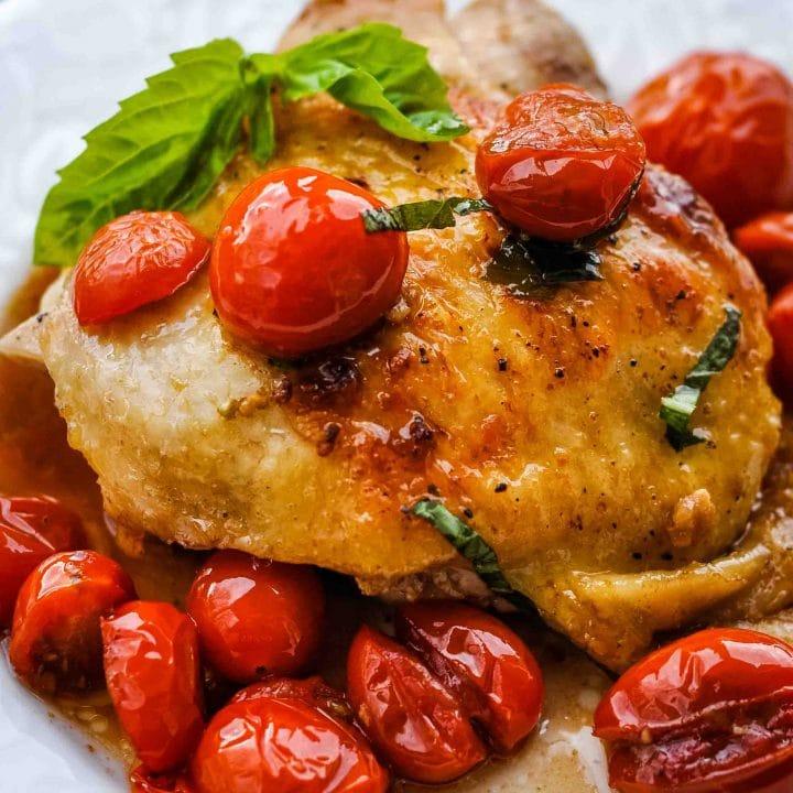 Tomato Basil Chicken Thighs