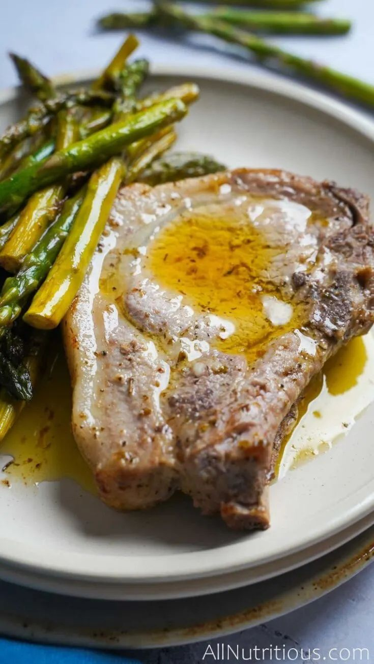 One Pan Pork Chops with Asparagus