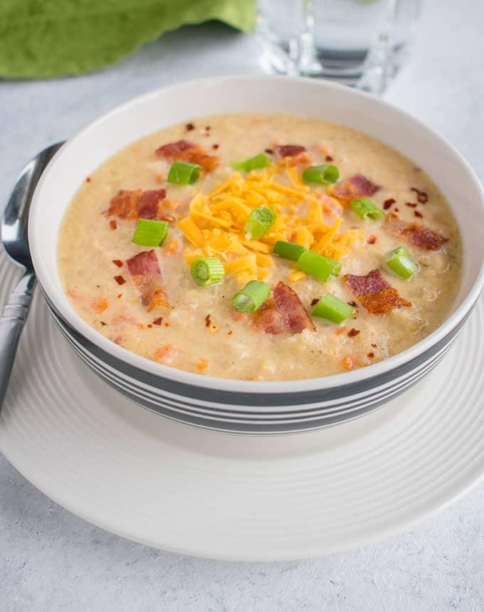 Cauliflower Soup with Cheddar