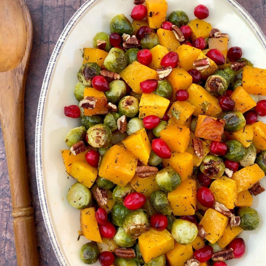 Maple Roasted Butternut Squash & Brussels Sprouts with Cranberries & Pecans