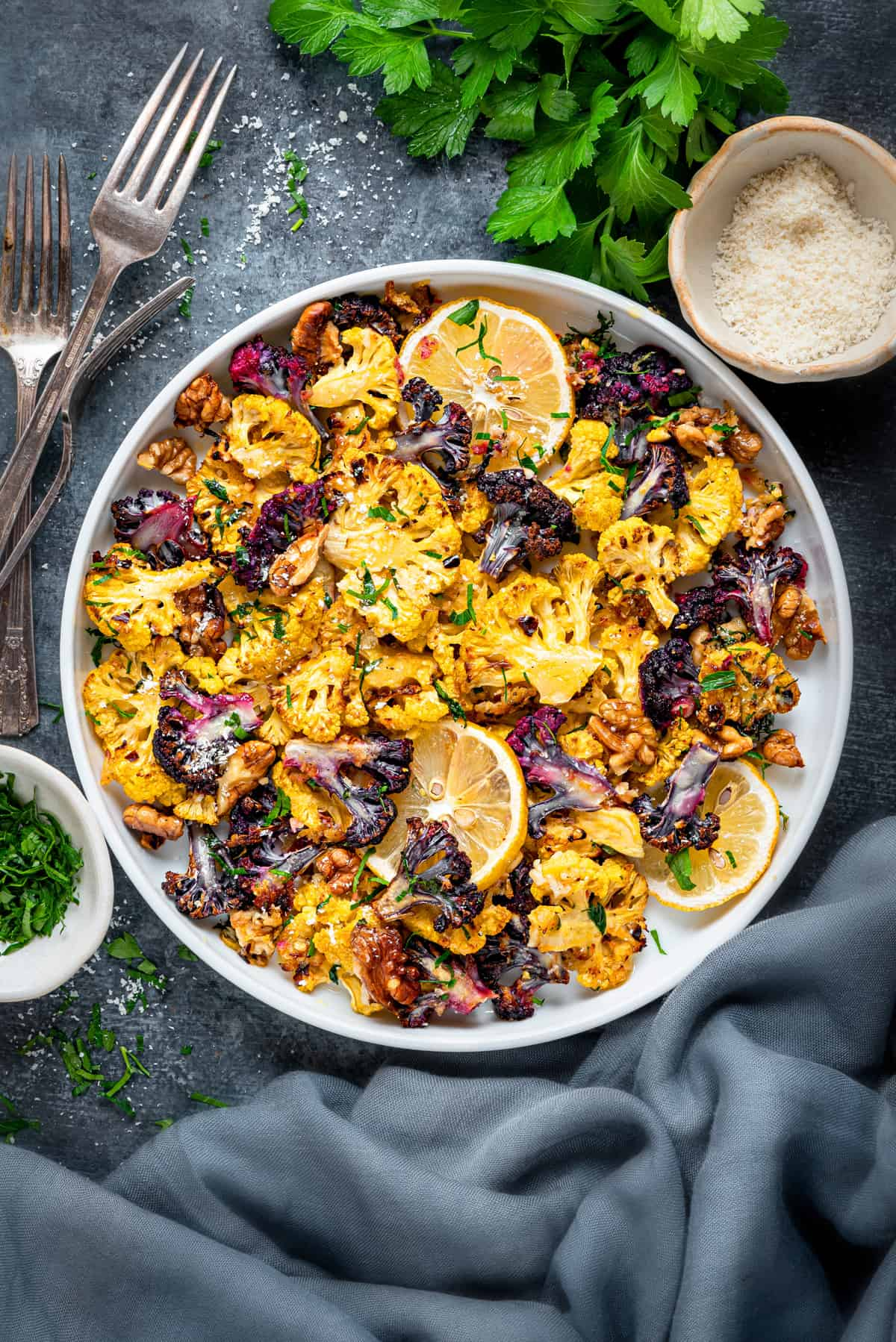 Oven Roasted Cauliflower Parmesan